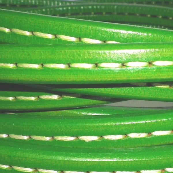 Cuero verde con cosido
